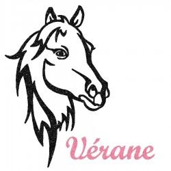 Appliqué thermocollant personnalisé profil cheval noir en flex pailleté