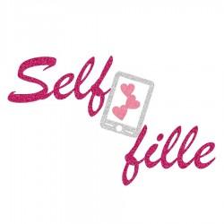 Appliqué thermocollant personnalisé selfie fushia en flex pailleté