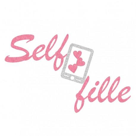 Appliqué thermocollant personnalisé selfie rose et argenté en flex pailleté
