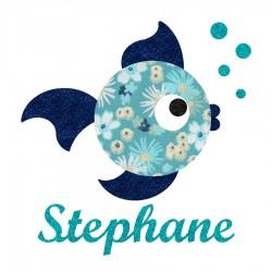 Appliqué thermocollant personnalisé poisson tissu liberty bleu et flex pailleté