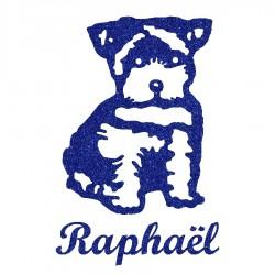 Appliqué thermocollant personnalisé chien chiot bleu en flex pailleté
