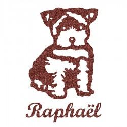 Appliqué thermocollant personnalisé chien chiot marron en flex pailleté