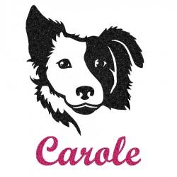 Appliqué thermocollant personnalisé fille chien border collie en flex pailleté