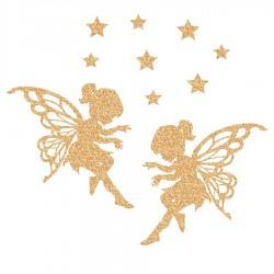 Appliqué thermocollant 2 fées et étoiles en flex pailleté doré