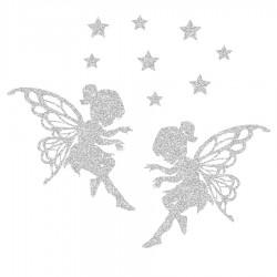 Appliqué thermocollant 2 fées et étoiles argenté en flex pailleté