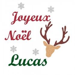 Appliqué thermocollant personnalisé prénom joyeux Noël renne en flex pailleté