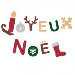 Appliqué thermocollant joyeux Noël en flex pailleté