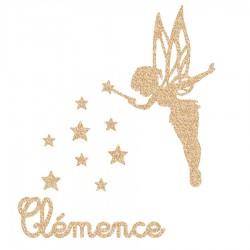 Appliqué thermocollant prénom fée et étoiles en flex brillant doré