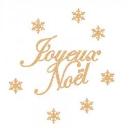Appliqué thermocollant joyeux Noël et flocons en flex pailleté