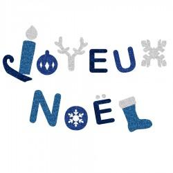 Appliqué thermocollant joyeux Noël bleu en flex pailleté