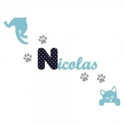 Appliqué thermocollant personnalisé chat coquin bleu en flex pailleté et tissu