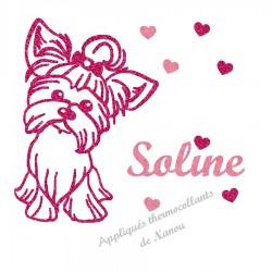 Appliqué thermocollant personnalisé chien Yorkshire rose en flex pailleté