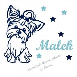 Appliqué thermocollant personnalisé chien Yorkshire bleu en flex pailleté