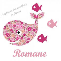 Appliqué thermocollant baleine liberty rose et flex
