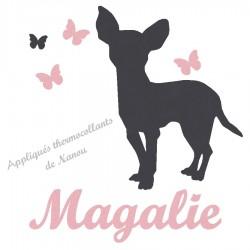 Appliqué thermocollant personnalisé fille chien chihuahua en flex velours