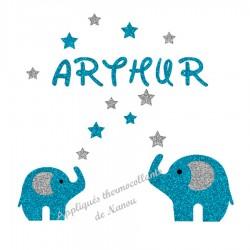 Appliqué thermocollant personnalisé prénom éléphants en flex pailleté
