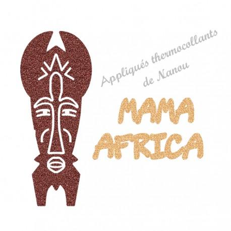 Appliqué thermocollant personnalisé masque Afrique texte en flex pailleté