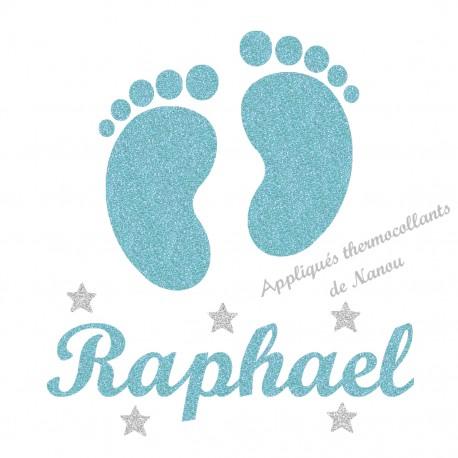 Appliqué thermocollant personnalisé petits pieds étoiles en flex pailleté