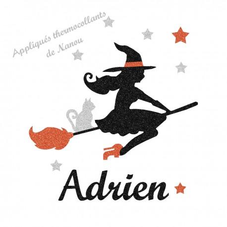 Appliqué thermocollant personnalisé sorcière halloween en flex pailleté