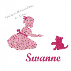 Appliqué thermocollant personnalisé fille chat en flex pailleté et tissu liberty rose