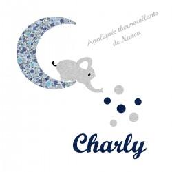 Appliqué thermocollant personnalisé éléphant sur lune en tissu liberty bleu et flex pailleté