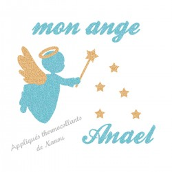 Appliqué thermocollant personnalisé ange bleu baguette en flex brillant