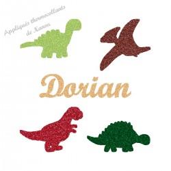 Appliqué thermocollant 4 dinosaures avec prénom personnalisé