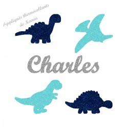 Appliqué thermocollant personnalisé dinosaures bleu en flex pailleté