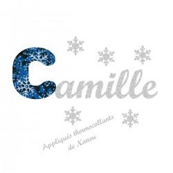 Appliqué thermocollant prénom écriture en liberty Noël bleu et flex pailleté argent