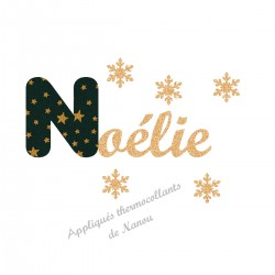 Appliqué thermocollant prénom écriture en liberty Noël vert et flex pailleté doré