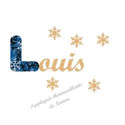 Appliqué thermocollant prénom écriture en liberty Noël bleu et flex pailleté doré
