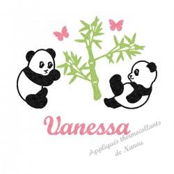 Appliqué thermocollant personnalisé panda fille