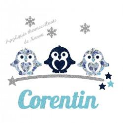 Appliqué thermocollant personnalisé petits pingouins bleus