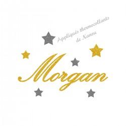 Appliqué thermocollant prénom belle écriture étoiles en flex pailleté jaune