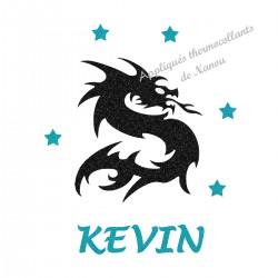 Appliqué thermocollant personnalisé dragon prénom bleu en flex pailleté