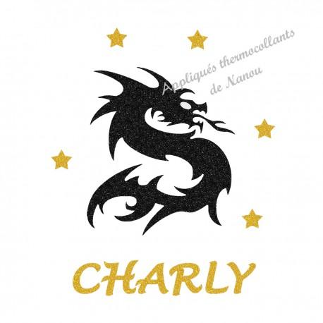 Appliqué thermocollant personnalisé dragon prénom jaune en flex pailleté