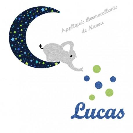 Appliqué thermocollant personnalisé éléphant lune en tissu marine étoiles et flex pailleté