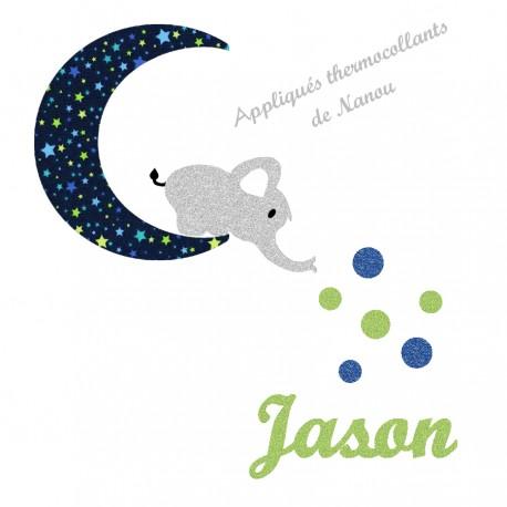 Appliqué thermocollant personnalisé vert éléphant lune en tissu marine étoiles et flex pailleté