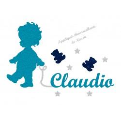 Appliqué thermocollant personnalisé bébé marche prénom bleu en flex pailleté
