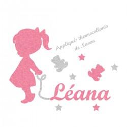 Appliqué thermocollant personnalisé bébé fillette rose prénom en flex pailleté