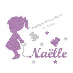 Appliqué thermocollant personnalisé bébé fillette lavande prénom en flex pailleté