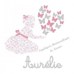 Appliqué thermocollant personnalisé fillette liberty pastel et papillons en flex pailletépailleté