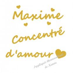 Appliqué thermocollant personnalisé jaune concentré d'amour en flex pailleté