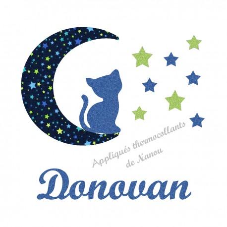 Appliqué thermocollant personnalisé chat lune en tissu marine étoiles et flex pailleté