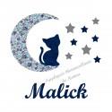 Appliqué thermocollant personnalisé chat lune en liberty bleu et flex pailleté