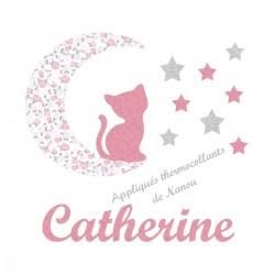 Appliqué thermocollant personnalisé chat lune en tissu pastel et flex pailleté