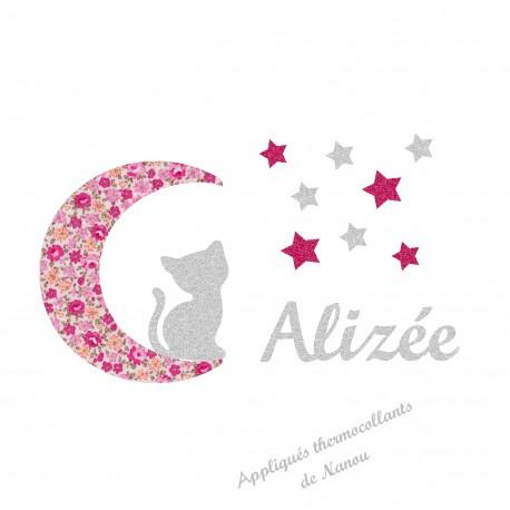 Appliqué thermocollant personnalisé chat lune liberty rose et flex pailleté