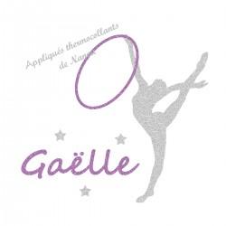 Appliqué thermocollant personnalisé gymnastique rythmique en flex pailleté