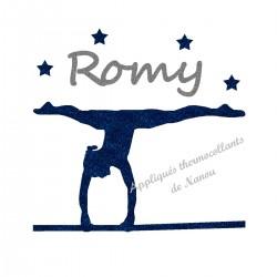 Appliqué thermocollant personnalisé gymnaste marine barres en flex pailleté