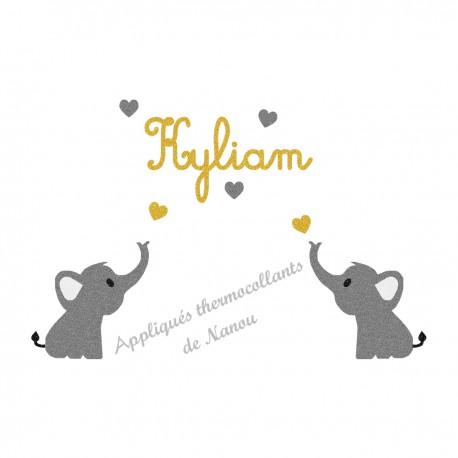 Appliqué thermocollant personnalisé 2 éléphants gris coeurs en flex pailleté